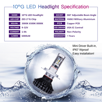Vanssi H4 LED Фары для авто G10 6000 люмен чрезвычайно супер яркий HB2 9003 Hi/lo Conversion Kit Белый
