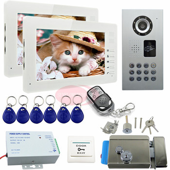 SUNFLOWERVDP Video Intercom With Electric Lock 7 '' Color TFT Monitor LCD Villa Intercom System Key IP65 Waterproof CCD Camera