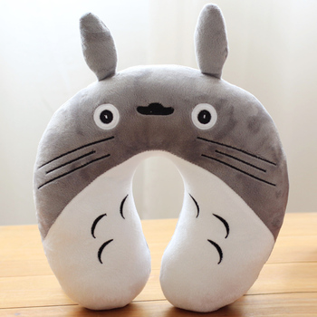 Candice guo! cute plush toy cartoon gray Totoro neck protect pillow U-shaped nap pillow birthday gift 1pc