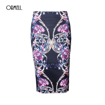 ORMELL Plus Size Pencil Skirt Summer American Femme Bodycon Women Skirts Floral Print High Waist Slim Vintage Clothing Saia